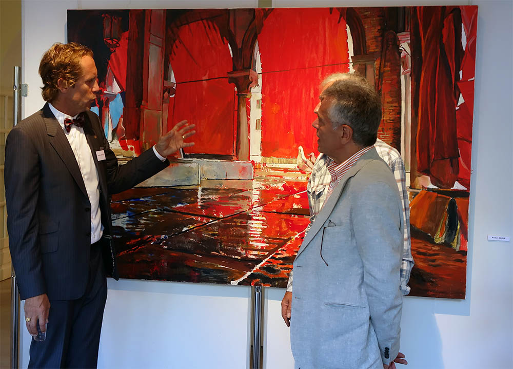 Vernissage Saint Tropez June 19 – July 7, 2014. Anders Sköld and Mayor Jean Pierre Tuveri. Mobile photo.